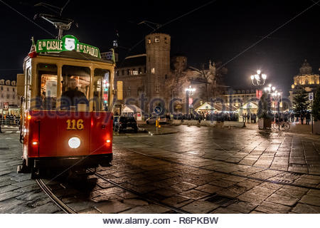 Turin, Italy. 2nd December, 2018. Historical tramway passing by the Christman market of Turin. © Simone Migliaro / Awakening - Stock Photo