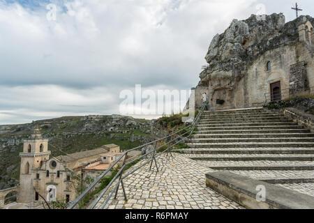 Santa Maria di Idris, rupestrian church, Matera, European Capital of Culture 2019 - Stock Photo