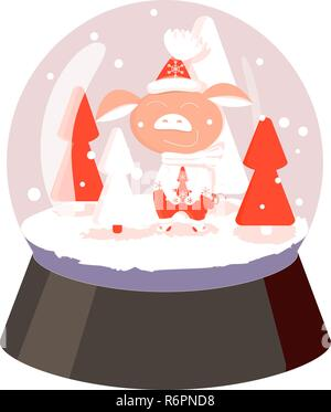 In a glass ball pig in pants, mittens and a hat with snowflakes on the ice among the red trees and falling snow - Stock Photo