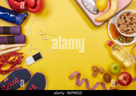 Sports nutrition and fitness equipment. - Stock Photo