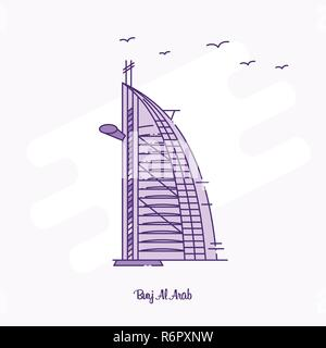 BURJ AL ARAB Landmark Purple Dotted Line skyline vector illustration - Stock Photo