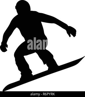 male snowboarder jumping on snowboard black silhouette - Stock Photo