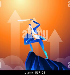 Flat isometric vector concept. A businessman that looks like a superhero is showing sword on mountain. - Stock Photo