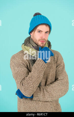 I hate cold. Man wear winter clothes. Man ready to celebrate winter holiday. Keeping you warm this holiday season. Kick cold before it kicks you. - Stock Photo