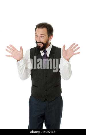 Tricky man shows hands palms as symbol of innocence. Business success tips. If you want be successful you should know. Teacher or speaker talking. My conscience is clear. I am not involved in this. - Stock Photo