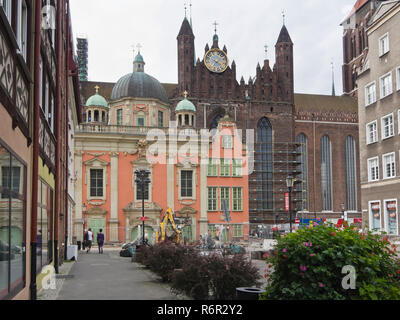 The Royal chapel, a baroque church with decorated pink facade beautifully restored in the centre of Gdansk Poland - Stock Photo