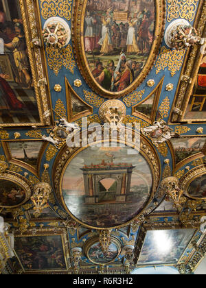 Inside the Historical museum of Gdansk Poland situated in the old town hall you can see the magnificent painted ceiling - Stock Photo