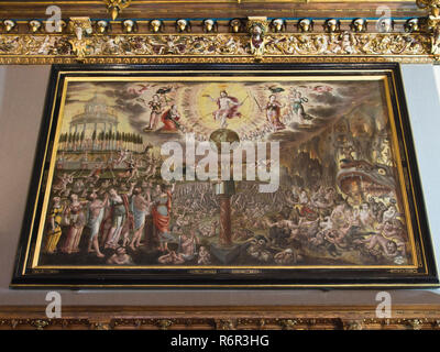 Inside the Historical museum of Gdansk Poland situated in the old town hall, large painting with religious motif - Stock Photo