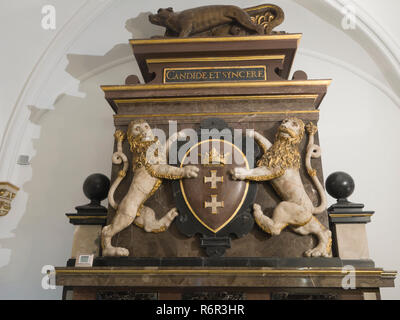 Inside the Historical museum of Gdansk Poland situated in the old town hall, decorative lions with old Gdansk standard - Stock Photo