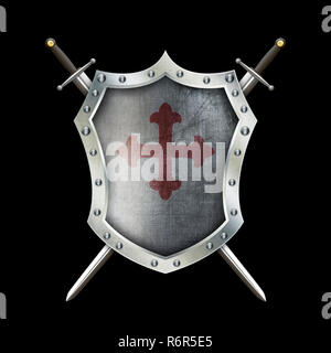 Medieval riveted shield with cross and two swords on black background. - Stock Photo