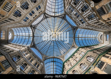 The glass and iron framed roof of the Galleria Umberto, shopping arcade,built between 1887–1891and designed by Emanuele Rocco, Via Toledo and  Via San - Stock Photo