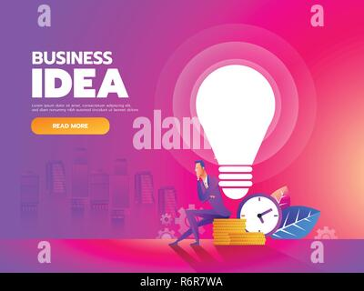 Thinker. Businessman sitting with idea bulb and money background. Vector illustration - Stock Photo