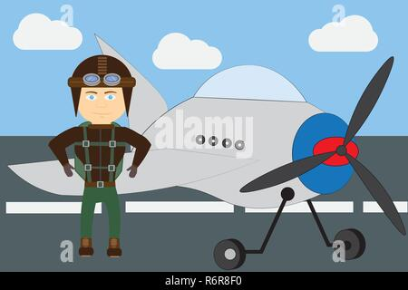 Young pilot standing by airplane at hangar.Cartoon vector illustration design. - Stock Photo