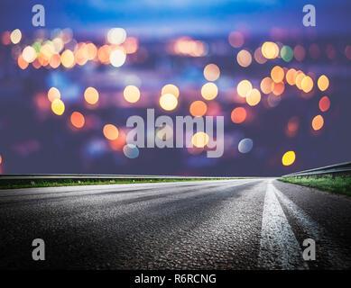Night city lights bokeh - Stock Photo