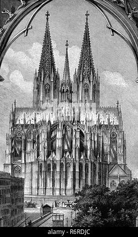 Digital improved reproduction, Cologne Cathedral, Cologne, Germany, Der Kölner Dom, Köln, Ostansicht, Deutschland, 1880, original print from the 19th century - Stock Photo