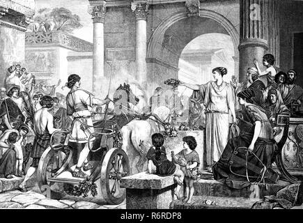 Digital improved reproduction, Entry of the winner of carriage race, Chariot racing, in ancient Rome, Italy, Einzug des Siegers vom Wagenrennen im historischen Rom, Italien, original print from the 19th century - Stock Photo