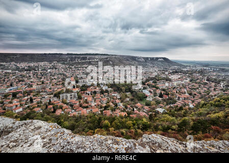 Urban City View. View of Provadia City in Bulgaria from Ovech Fortress - Stock Photo