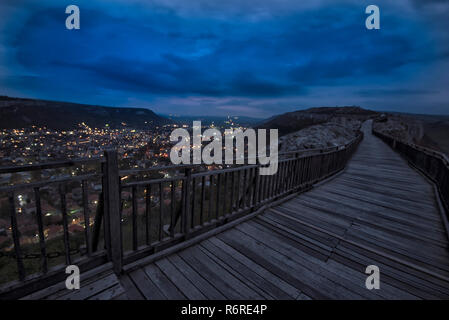 Night Urban View. Night scene at old fortress. Nightscape of the medieval fortress Ovech near Provadia, Bulgaria - Stock Photo