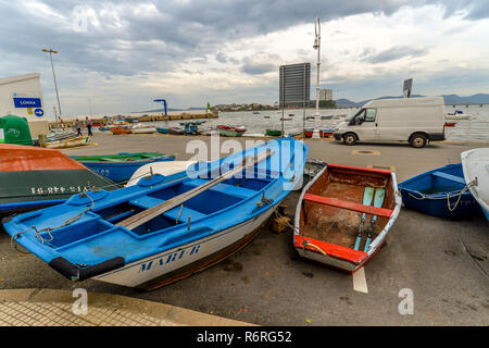 Vigo/Galicia - Spain - 11/25/18 - Colorful row boats in Canido harbor - Stock Photo