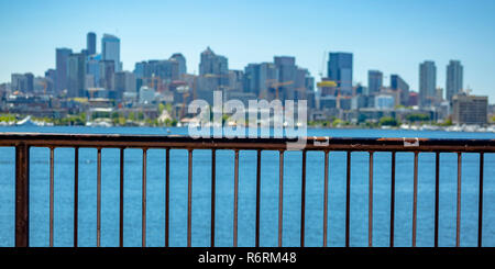 Scenic view of downtown Seattle and Union Lake - Stock Photo