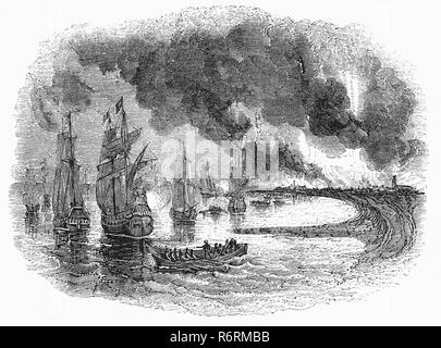 The Raid on the Medway, during the Second Anglo-Dutch War in June 1667, was a successful attack conducted by the Dutch navy on English battleships  when most were virtually unmanned and unarmed, laid up in the fleet anchorages off Chatham Dockyard and Gillingham in the county of Kent.  The Dutch captured the town of Sheerness, then sailed into the River Medway to Chatham and Gillingham, where they engaged fortifications with cannon fire, burned or captured three capital ships and ten more ships of the line, and captured and towed away the flagship of the English fleet, HMS Royal Charles. - Stock Photo