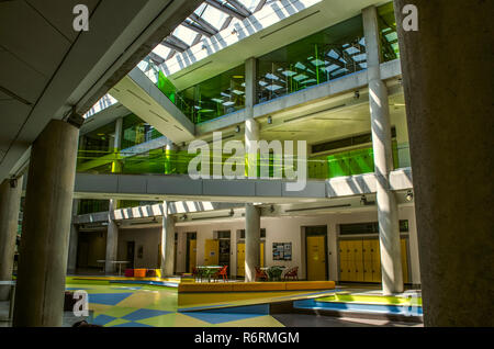 Dilijan,Armenia,August 24,2018:View of the hallway with tables and chairs, illuminated by daylight from under the glazed frames, coming from the ceili - Stock Photo