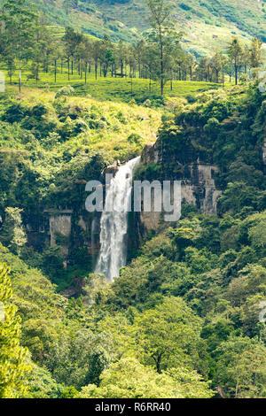 Upper Ramboda Falls, near Nuwara Eliya, Sri Lanka - Stock Photo