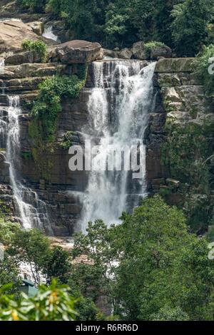Lower Ramboda Falls, near Nuwara Eliya, Sri Lanka - Stock Photo