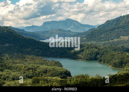 View from Ramboda Falls, near Nuwara Eliya, Sri Lanka - Stock Photo
