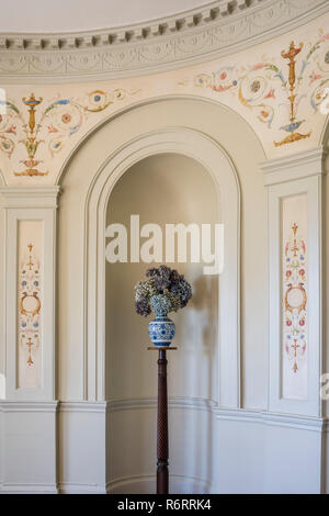 Dried hydrangeas in recessed alcove in 18th century Goodnestone mansion - Stock Photo
