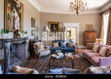 Portrait of Fanny Fowler above fireplace in drawing room of 18th century Goodnestone mansion - Stock Photo