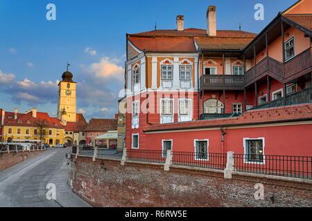 Small Square, Sibiu, Transylvania, Romania - Stock Photo