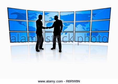 VP 6229237, BUNDESREPUBLIK DEUTSCHLAND, BAYERN,   business men in front of a television wall with a blue world map   [Copyright notice: Markus Gann/Mc - Stock Photo