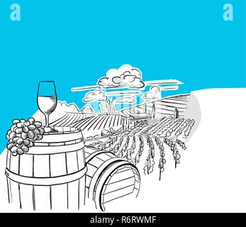 Vineyard landscape with glass drawing, hand-drawn vector food illustration for vine label and social media marketing - Stock Photo