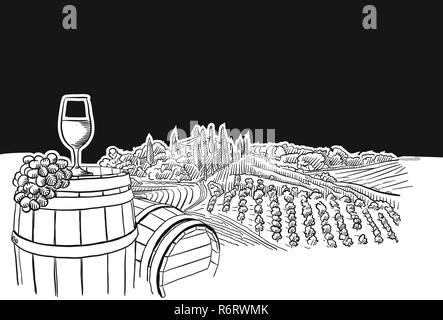 vineyard landscape with glass scene, hand-drawn vector food illustration for vine label and social media marketing - Stock Photo