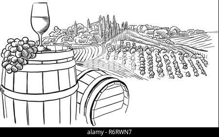 vineyard landscape with glass illustration, hand-drawn vector food illustration for vine label and social media marketing - Stock Photo