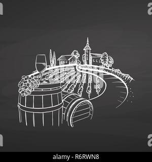 Vineyard drawing on chalkboard, hand-drawn vector food illustration for vine label and social media marketing - Stock Photo
