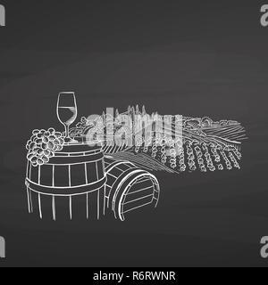 Wine illustration on chalkboard, hand-drawn vector food illustration for vine label and social media marketing - Stock Photo