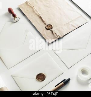 Blank vintage envelopes - Stock Photo