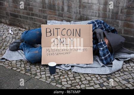 Beggar Sleeping On Street - Stock Photo