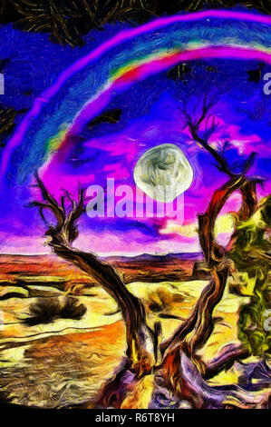 Surreal painting. Old tree stands on a rocky ground. Full moon and rainbow in purple-blue clouds - Stock Photo
