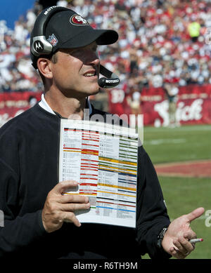 San Francisco, California, USA. 18th Sep, 2011. 49ers head coach Jim Harbaugh on Sunday, September 18, 2011 at Candlestick Park, San Francisco, California. Cowboys defeated the 49ers in overtime 27-24. Credit: Al Golub/ZUMA Wire/Alamy Live News - Stock Photo