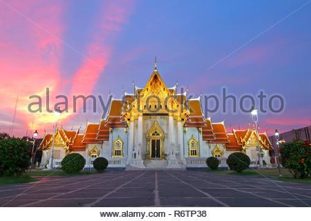 Wat Benchamabophit The Marble Temple at sunset Bangkok, Thailand - Stock Photo