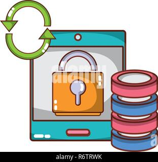 technology computing security cartoon - Stock Photo