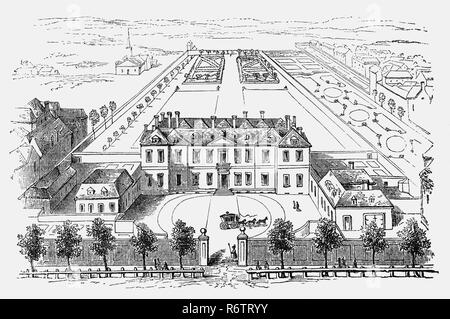 An aerial plan of Burlington House, one of the earliest of a number of large private residences built on the north side of Piccadilly, previously a country lane near London. It was a red-brick double-pile hip-roofed mansion with a recessed centre, typical of the style of the time. The house was sold in an incomplete state in 1667 to Richard Boyle, the first Earl of Burlington, from whom it derives its name. In 1704, the house was passed on to ten-year-old Richard Boyle, third Earl of Burlington, who was to become the principal patron of the Palladian movement in England. - Stock Photo