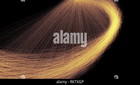 Curve showers of hot glowing sparks in motion from spinning steel wool 3d illustration - Stock Photo