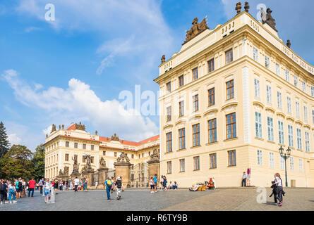 Prague castle Hradcany Square and first courtyard Prague Castle Pražský hrad praha Czech Republic Europe - Stock Photo