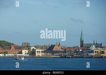 View of Helsingor or Elsinore from Oresund strait in Denmark - Stock Photo