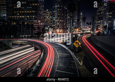 6th street over pass & 110 highway, downtown, Los Angeles. - Stock Photo