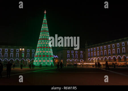 Christmas tree on Commerce square at night - Stock Photo
